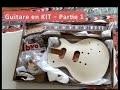 """Guitare en kit - type Les Paul - Teinture """"honeyburst"""" table en érable flammée"""