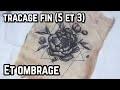 tuto tattoo - tatouage d'une pivoine, tracage fin avec ombrage