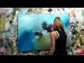 """Démonstration de peinture abstraite (2) Elisabeth - Toile """"Pensée"""""""