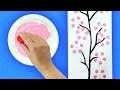 Peindre des fleurs de cerisier avec des bouteilles en plastiques