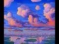 Peindre des grands nuages au coucher du soleil a l'acrylique sur la toile par Ben Saber