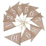 1-10 Drapeaux Numéros de Table en Toile de Jute Marque Place Décoration Vintage de Mariage