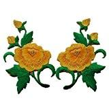 1paire de boutons de Pivoine et pivoine Fleur brodée patchs à coudre Iron on patches