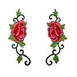 1paire Pivoine Rose Fleur avec feuilles Vert brodé patchs à coudre Iron on patches