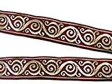 10m celtique galon webband 35mm de large Couleur?: Bordeaux/Or de 1a de mercerie si42-35Bogo