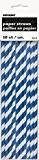 10 Pailles rayées bleu marine