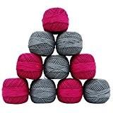 10 Pcs Coton Crochet Knitting filé Skein fil à broder Rose Gris boule
