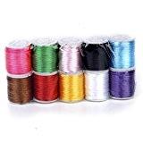 10 Rouleaux Cordes Fils pour Perler en Nylon 2mm DIY Fabrication de Bijoux Couleur Mixte