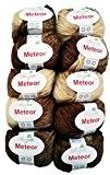 10x 50g Meteor laine à tricoter et crochet avec paillettes, 500g Coton métallique couleur 400-13, marron beige
