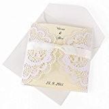 10 x invitation mariage découpe dentenlle cage à oiseau avec enveloppe