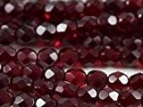 100pcs Tchèque facettes perles de verre, Fire-Polished Beads, ronde 5mm, Dark Ruby (Garnet)