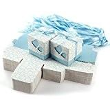 100x Boîte à dragées couvercle coeurs ruban mariage baptême garçon bébé bleu clair
