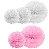 """10pcs papier fleur pompon boule à suspendre 10"""" rose décor mariage fête"""