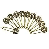 10pcs Rétro Épingles à Nourrice Fleurs Broches Épingles en Cuivre Bronze pour Filigrane Artisanat Diy
