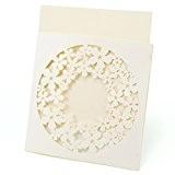 10x invitation de mariage dentelle blanc + beige fleur avec enveloppe #757