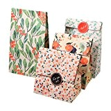 12 Sachets Kraft Sac Cadeau Papier d'emballage cookie avec autocollant en motif fleurs de style coréen pour mariage anniversaire 13 ...