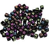 1200 Perles Carrées Alphabet Noires et Fluo pour Fabrication de Bijoux et Loisirs Créatifs par CurtzyTM