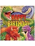 16 Serviettes en papier Dinosaures Anniversaire 33 x 33 cm