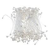 170pcs Perles Fleur DIY Fabrication Décoration Etamine de Simulation Double Pointe -Blanc
