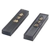 2 Pcs/Paquet LaoHuKaiwen Bâton d'encre Pierre d'encre Fumée bâton d'encre pour La calligraphie/Peinture Chinois/Japonais,10 cm *2,5 cm *1cm