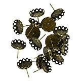 20 Fleur Paramètre Lunette Blanche Ronde Pour 12mm Cabochon Broches Boucle D'oreille De Earstud