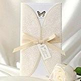 20x élégant ivoire dentelle vintage imprimé papillon de mariage cartes d'invitation 3plis, sans enveloppe assortie, Blank Carte Insert assorti gratuit ...