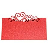 20pcs Carte Marque Place Coeur Décoration Table de Mariage - Rouge