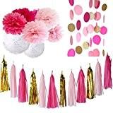 20pcs Fuchsia rose or blanc Party Kit Décoration avec papier de soie Tassel Garland tissus papier fleur cercle guirlande pour ...