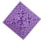 20pcs/Lot Carte Faire-part Carré en Papier Motif Evidé Elégant Carte Invitaion pour Mariage - 15cm - Violet Fleur dentelle