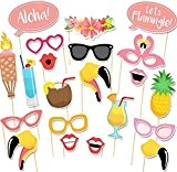 21pcs Aloha Flamingo Hawaii Tropical Summer Party Hen Matrimonio Compleanno Kit partito Photo Booth Props su Sticks