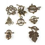24 x Assorti Breloques Vintage Bronze Fleur/Serrure/ Libellule Fermoir Perles Kit Bijoux de Sac à monter Métal