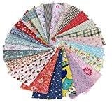 25pcs 20cm x 20cm de Tissu Carrés en Coton Craft patchwork Peluches DIY Couture Scrapbooking à pois Artcraft, Multicolore