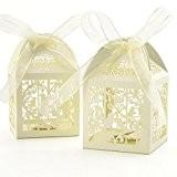 25x Boîte à dragées Cage Oiseaux Coeur crème pour Mariage Baptême