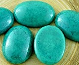 2pcs Picasso en terre Cuite Turquoise Vert Bleu Ovale Bombé Verre tchèque Cabochon 25mm x 18mm