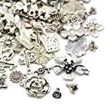 30 Grams Argent Antique Tibétain Mélange Aléatoire Breloques Fleur - (HA07045) - Charming Beads