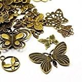 30 Grams Bronze Antique Tibétain Mélange Aléatoire Breloques Papillon - (HA07040) - Charming Beads