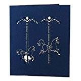 3D Pop Up Carte d'Invitation Anniversaire Faire-part Mariage Merry-go-round - Bleu, 13x 16cm
