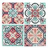 4 stickers deco Mosaïques 12x12cm style Azulejos/Carreaux de ciment Mint