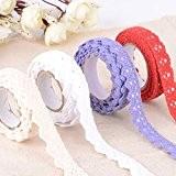 4 x Dentelle Trim Ruban Coton Tissu Washi Tape Decor Craft
