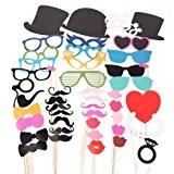 44pcs moustache lèvre lunettes loup masque avec bâton pour Masquerade