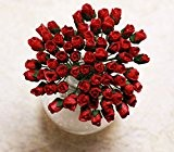 50 rouge Rose minuscule Scrapbooking artisanat 5mm Mulberry carte fleur de papier tue Dollhous