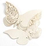 50pcs Carte NOM Marque-Place Papillon verre mariage anniversaire decaoration table ivoire