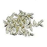 50pcs Laiton Cloches Cap Embouts pour Bricolage de Bijoux pour Cordon 5-6mm - Argent Blanc