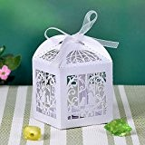 50pcs Laser Cut Wedding Sweets Love Bird Wedding Favor Candy Gifts Boxes Box Bomboniere with Ribbons Bridal Shower Wedding Party ...