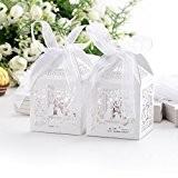 50x Boîte à dragées bonbons Coeur Oiseaux Cage blanc pour Mariage Baptême