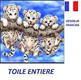 5D Broderie diamant toile entière, kit complet VENDEUR FRANÇAIS (3 bébés tigres blancs 40 x 33)