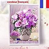 5D Broderie diamant toile entière, kit complet VENDEUR FRANÇAIS (bouquet de fleurs 50 x 50)