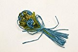 6 petits bouquets de fleurs turquoise en raphia, 7.5 cm. Décoration de mariage