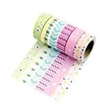 6 Rouleaux Washi Tape Masking tape- Ruban Adhésif Papier Décoratif - (Style F6, 15mm x 10M)