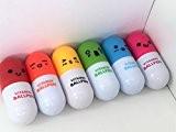 6Stylos fantaisie Vitamine pilule rétractable avec visages-Un de chaque couleur-Base Royaume-Uni Vendeur-kawaii Papeterie infirmière médicale-Cadeau